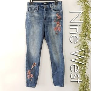 NINE WEST Gramercy embroidered high rise jeans